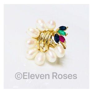 Jewelry - 14k Gold Pearl Diamond & Gemstone Cocktail Ring